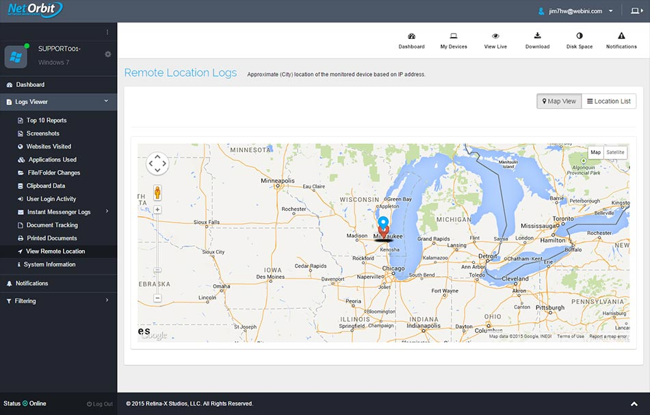 Features - Net Orbit - Retina-X Studios, LLC - Monitoring